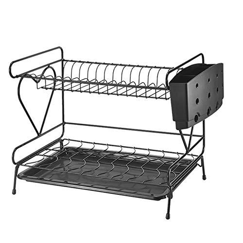 Estante de almacenamiento de platos de cocina, vajilla, palillos, caja de almacenamiento, estante para platos y cuencos, escurridor de platos doble, estante para platos, estante para arte de hierro