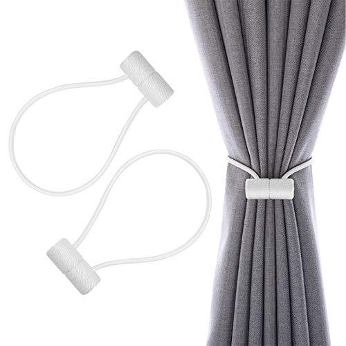 Sodeno Magnetic Curtain Holdbacks Tiebacks, 2Pack 16 Inch Tie Backs Holdback for Blackout Sheer Window Home Office Decorative Weave Rope Curtain Drape Holdbacks Holder