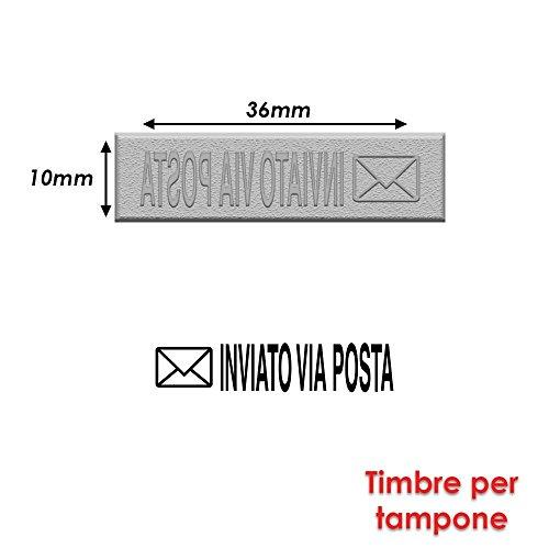 Briefmarke Gummi für Stempel Stempelkissen 40x 10mm Text Italienisch–inviato Via Posta