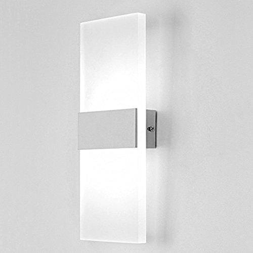 Lampop 6W LED Wandleuchte innen Modern Wandlampe aus Acryl und Aluminium Energiesparend für Schlafzimmer, Wohnzimmer, Balkon, Treppenhaus usw. (Kaltweiß)