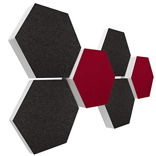 Basotect G+ Schallabsorber 3D-Set < 6 Elemente Ø30cm > Diverse Farben (Anthrazit + Bordeaux)