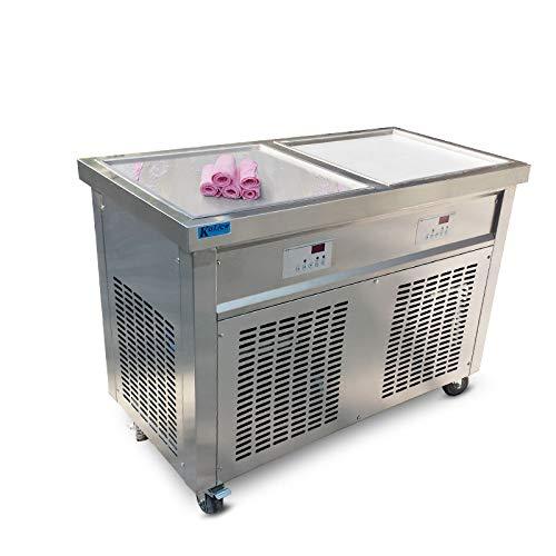 Gratis Lieferung zu Tür Double Square Ice Pfannen Gelato Fried Eis Maschine Joghurt Thai Stir Rolle Eis Maschine sofort Stir Fry Eis Rolle Maschine mit Automatisches Abtauen, Full Kältemittel