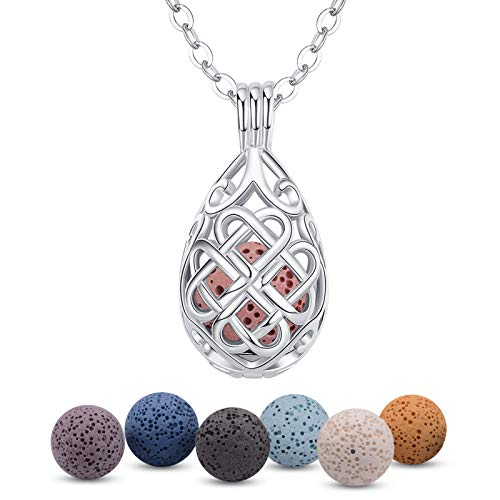 INFUSEU Aromatherapy Jewellery Essential Necklaces, Anxiety Relief Oils Diffuser for Women Girls, Silver Plated Oval celtic pattern Pendant with 24' Chain & 7 Reusable Lava Beads