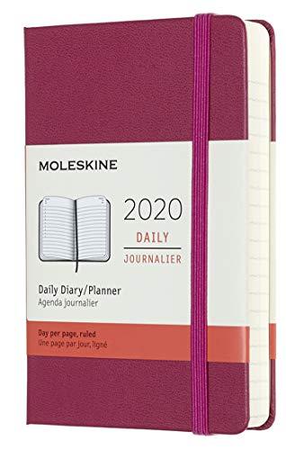 Moleskine - Agenda Diaria de 12 Meses 2020, Tapa Dura y Goma Elástica, Tamaño Pequeño 9 x 14 cm, 400 Páginas, Rosa Enérgico