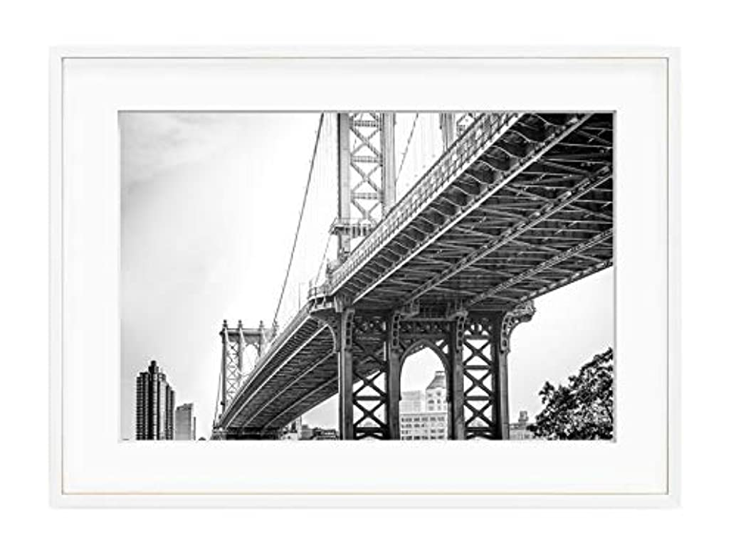 Brooklyn Bridge Natural Solid Oak Frame with Mount, Multicolored, 50x70