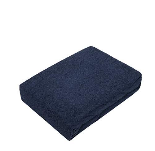 Exklusiv Heimtextil Drap-housse en tissu éponge avec élastique, Bleu marine, 140 - 160 x 200 cm