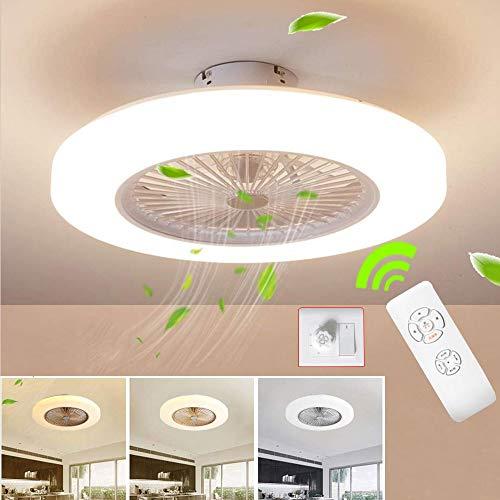 Wandun Ventilador de techo Lámpara de techo, moderna LED Ventilador De Techo Control remoto de correa regulable Decoración de interiores Plafón de techo lluminación [Clase de eficiencia energética A]