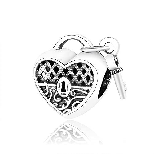 LIIHVYI Pandora Charms para Mujeres Cuentas Plata De Ley 925 Joyería De La Llave De La Cerradura del Corazón De Europa Compatible con Pulseras Europeos Collars