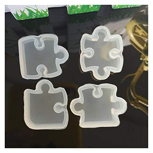 YSJJDRT Moldes de Resina 4 unids/Set Pieza de Rompecabezas Piedra de Piedras Preciosas Crystal Epoxy Resina Molde DIY Colgante Herramientas Epoxi Molde de Silicona Clara (Color : White)