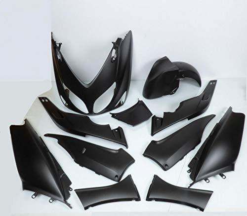 one by Camamoto cod. 77380005 set kit carene plastiche complete in abs 12 pezzi colore nero opaco compatibile con yamaha t-max 500 anno dal 2001 al 2007
