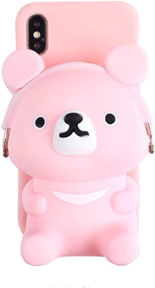 UnnFiko 3D Bear Pocket Case Compatible with iPhone XR, Cute Cartoon Purse Stand Holder, Squishy Soft Silicone Protective Phone Case for Girls Women (iPhone XR)
