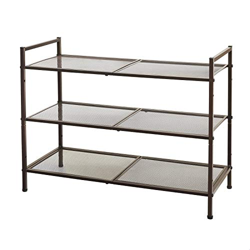 SONGMICS 3-Tier Shoe Rack, Stackable and Adjustable Shoe Rack for Closets, 9-12 Pairs of Shoes, Metal Shoe Rack Storage, for Entryway, Living Room, Bathroom, Bronze ULMR17A