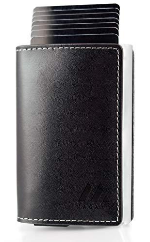 MAGATI Slim Wallet MANI - Kreditkartenetui mit Magnetverschluss - Geldbörse, Geldbeutel aus Echtleder mit Fundservice, Geldscheinklammer und RFID-Schutz - Nachtschwarz