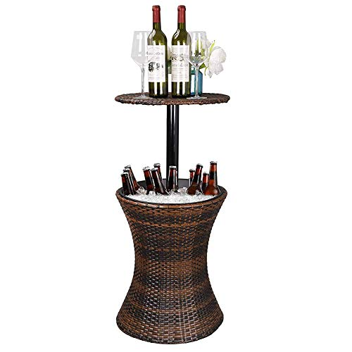 SOFIL Mesa de jardín Enfriador Bebidas por Hielo (Ø44cm,mesilla Exterior,Altura Regulable,Taburete Soporte Bebidas,Resistente Intemperie,marrón)