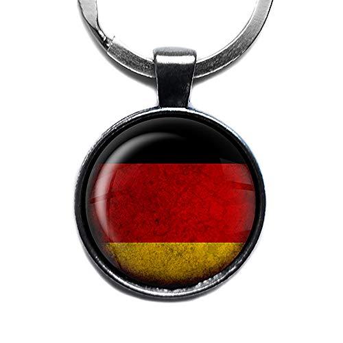 Germany German Flag Deutschland Deutsche Flagge Keychain Silber Schlüsselanhänger