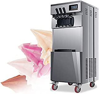 Commercial Ice Cream Machine Soft Serve for Restaurant Home Kids Finlon 20L/H 1850W Stand Three Flavors Ice Cream Machine 304 Stainless Steel Automatic US Shipping