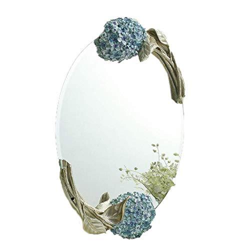 BXU-BG Llevado Espejo de Maquillaje Espejo de Maquillaje montado en la Pared Espejo de la habitación, Resina enmarcada Hermosa Flor Decorar Oval Colgar de la Pared Espejo Compatible with niñas