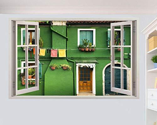 DCJ etiqueta de la pared Village Street France 3D ventana etiqueta de la pared arte habitación decoración calcomanía mural