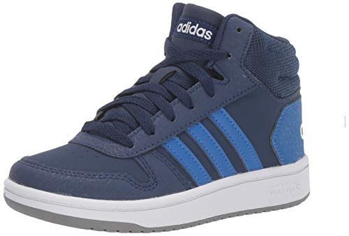 adidas Kids Unisex's Hoops Mid 2.0 Basketball Shoe, Dark Blue/Blue/White, 4 M US Big Kid