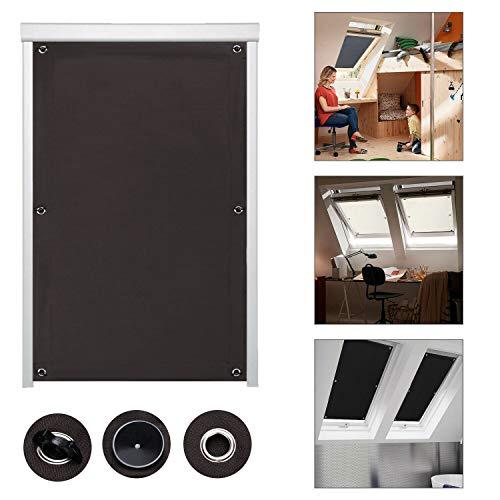 iKINLO Thermo Sonnenschutz Dachfensterrollo für Velux Dachfenster M06 und 306 ohne Bohren Verdunklungsrollo Rollo UV Schutz mit Saugnäpfe, Braun 60 x 93 cm