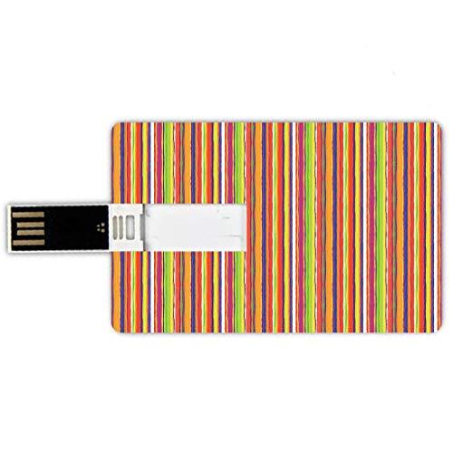 USB-Sticks 32GB Kreditkartenform Streifen Memory Stick-Bankkartenstil Handgezeichnete Barcode-Stil Linien Regenbogen farbige abstrakte geometrische Illustration,Multicolor, Wasserdichte stift daumen s