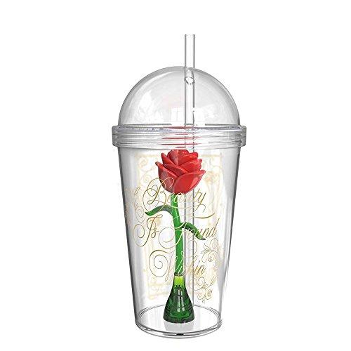 Beauty And The Beast BUBA-S960 - Vasos para niños, diseño de rosas, 236 ml por Zak Designs, Vaso con rosa encantada en el interior, 680 ml, 0, 0, 1