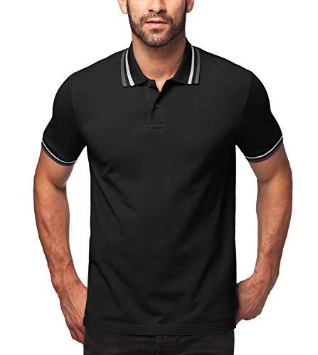 LAPASA Herren 100% Baumwolle Polo Pique Polo Shirt Kurzarm mit Polokragen MEHRWEG M019 (XL, Schwarz(mit Streifen))