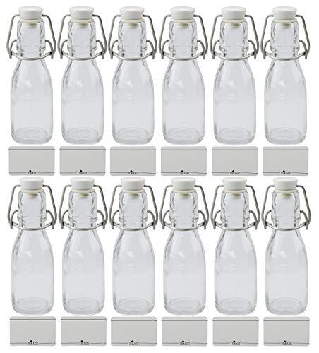 mikken 12x Glasflasche 100ml mit Bügelverschluss aus Kunststoff, inkl Beschriftungsetiketten
