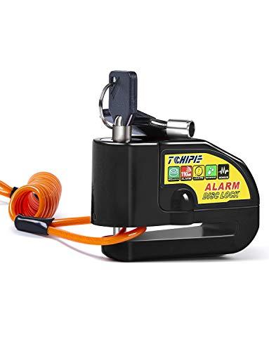 Tchipie Antivol Moto Bloque Disque avec Alarme de 110dB, Antivol Scooter Bloc Disque Moto Alarme pour Moto/Vélo/Scooter, 1,5m Câble de Rappel, 3 Clés et Piles de Rechange, Noir