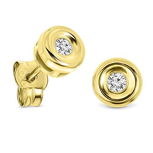 Miore Ohrringe Damen 0.10 Ct Solitär Diamant runde Ohrstecker aus Gelbgold 18 Karat / 750 Gold, Ohrschmuck