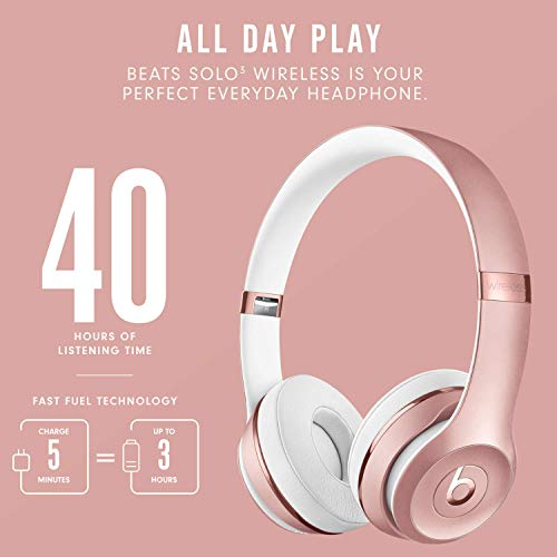 Beats Solo3 Wireless On-Ear Headphones - Apple W1 Headphone Chip, Class 1 Bluetooth, 40 Hours Of Listening Time - Rose Gold