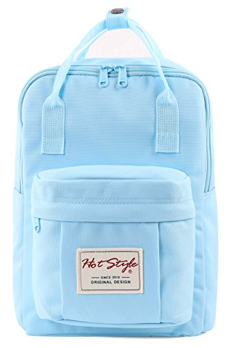 BESTIE 12' Small Backpack for Women, Girl's Cute Mini Bookbag Purse, Little Square Travel Bag, PowderBlue