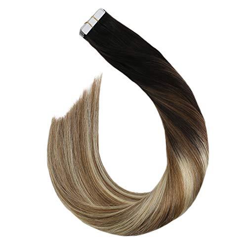 Ugeat Tape ins Haarverlangerung Naturlich Glatt 35 cm Tape on Remy Human Hair Extension Double Sided Tabs 20Pcs 50Gramm/Pack (Schwarz bis Goldbraun und Platinblond #1B/10/60)