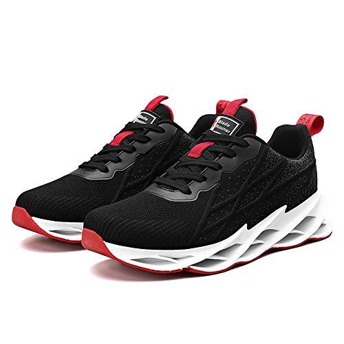 Zapatillas de Running para Hombre Casual Tenis Zapatos Deporte Fitness Gym Correr Gimnasio Deportives Transpirables Seguridad Atlético Trekking Sneakers Blackred 43