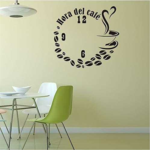 Wuyyii Diy Gefälschte Uhr Kaffee Wandaufkleber Kunst Aufkleber Aufkleber Vinyl Kaffee Wandaufkleber Für Coffee Shop Büro Decor Tapete Poster