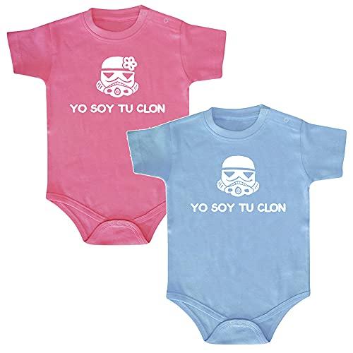ClickInk Pack 2 bodys. Yo soy tu clon. Regalo gemelos, regalo mellizos, regalo bebé, set de bodys de bebé.