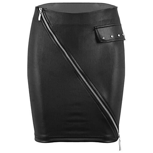 YiZYiF Falda de Moda con Cintura Alta para Mujer Minifalda de Cuero de Imitación Brillante Sexy para Dama Falda Caliente con Cremallera Clubwear