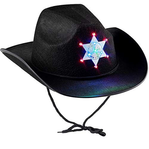 Black Sheriff Hat (1-Pack) Sheriff Cowboy Light Up Hat with Blinking Badge and Neck Draw String, Fit For Kids Boys And Girls, for Dress-Up Parties and Play Costume