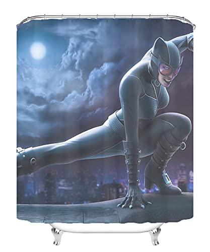 YITUOMO Nationalheld Batman Duschvorhang 3D Matte Wasserdichter Schimmel Duschvorhang Umweltfre&lich Waschbar Anime Charaktere 180x180cm