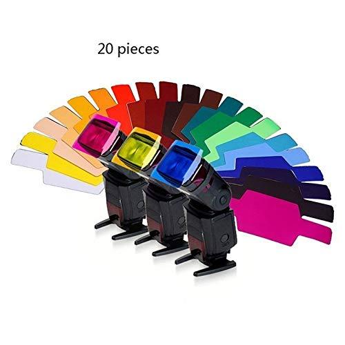 Filtro de Color de 20 Piezas para Accesorios de Flash Superior de la cámara Filtro de iluminación de geles de Flash Universal para luz de Flash de cámara - 20 Colores