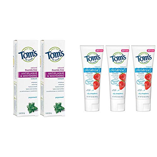 Tom's of Maine Fluoride-Free Antiplaque & Whitening Toothpaste with Tom's of Maine Fluoride-Free Children's Toothpaste, Kids Toothpaste, Natural Toothpaste, Silly Straw