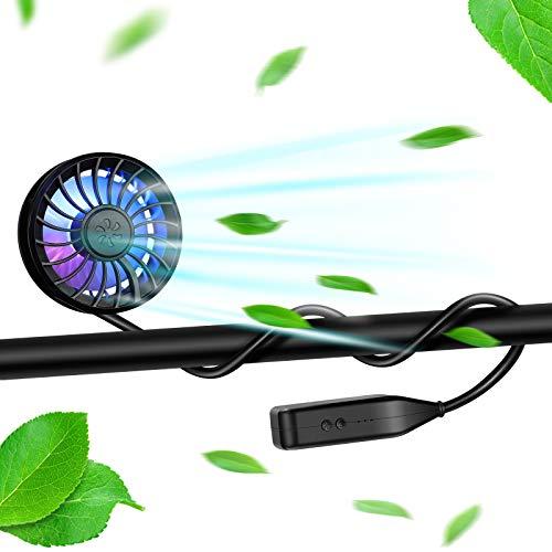 Hand Free Neck Fan Personal Black Fan USB Rechargeable Portable Sports Fan with LED Light Mini Stroller Fan and Baby Fan with Flexible Stand 360° Rotation Fan for Stroller/Bike/Gym