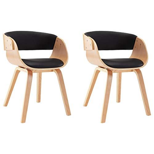 vidaXL 2X Esszimmerstuhl Küchenstuhl Essstühle Küchenmöbel Stühle Schwarz Bugholz und Kunstleder