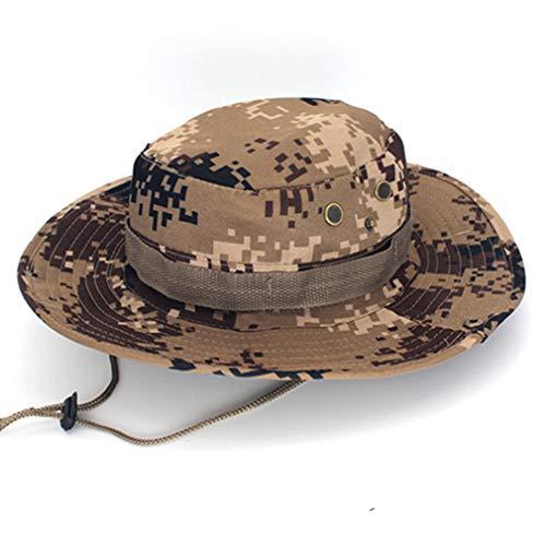 Egurs Unisexe Tactique Boonie Hat pêcheur Arrondi Protection du Soleil Camouflage Chapeau en Plein air Escalade Jungle Camouflage du désert