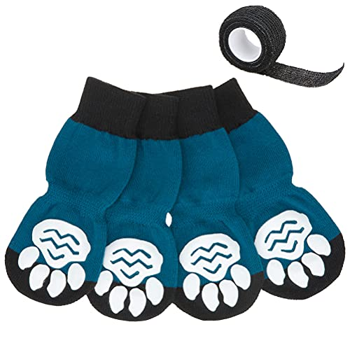 EXPAWLORER Anti-Slip Dog Socks with Bandage - 2 Pairs Knit Paw...