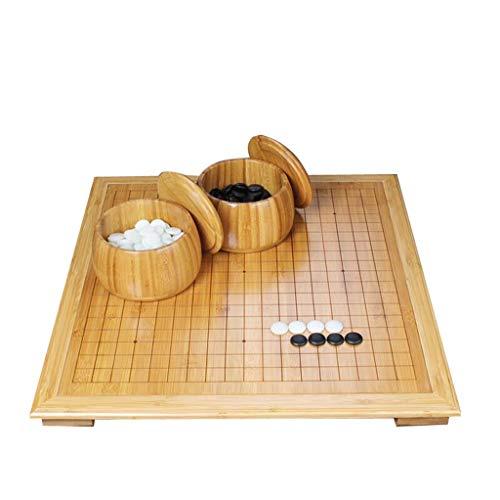 HQQ Go Set, Cadre en Bambou avec Pied Table d'échecs carbonisée Plateau d'échecs en Bois de Bambou avec Le Nouveau Jeu Yunzi Go (Color : A)