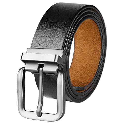 VRLEGEND Cintura da Uomo Pelle Uomini Normali/Grandi 110 cm-180 cm con Fibbia Rimovibile,Regolabile Cinture per Jeans,Pantaloni Casual o Formali Confezione Regalo Inclusa (110cm, Nero)