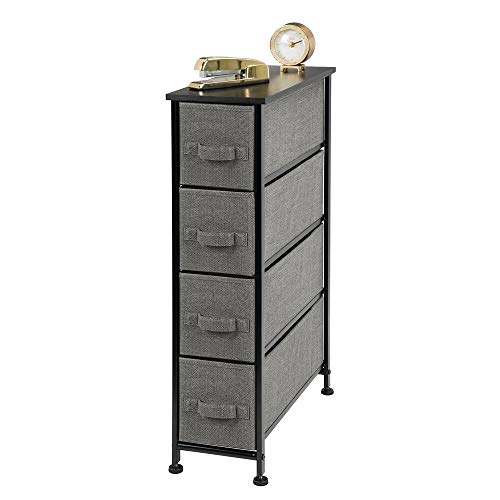 mDesign Modern Steel Frame/Fabric 4 Drawer Tall StorageDresser, Night Stand, Accent Furniture Side/End Table, Narrow Tower for Bedroom, Living Room, Small Space Decor - Charcoal/Black