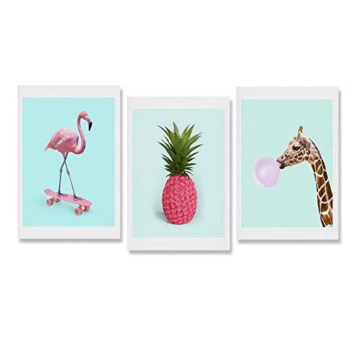 Flamingo Auf Skateboard Poster Leinwand Bilder Giraffe Ananas Leinwand Bilder Rosa Wandkunst Wohnzimmer Mädchen Schlafzimmer Bilder 3St Rahmenlos-B2_50x70cmx3