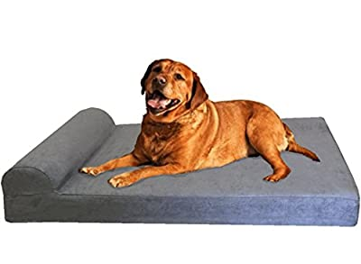 Dogbed4less Premium HeadRest Orthopedic Cool Memory Foam Dog Bed for Extra Large Dogs, Waterproof Lining and Grey Suede Cover, Jumbo 55X47 Inch